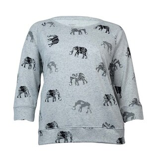 Style & Co. Women's Elephant Marled Terry Knit Sweater - white heather - xL
