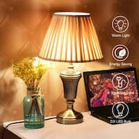 Costway 13'' Antique Brass Bedside Table Lamp w/ LED Bulb Champagne  Night Light - ANTIQUE BRASS