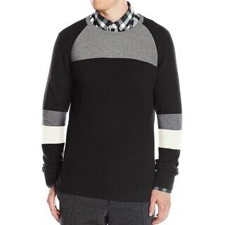 Kenneth Cole NEW Black Gray Mens Size Medium M Ribbed Crewneck Sweater