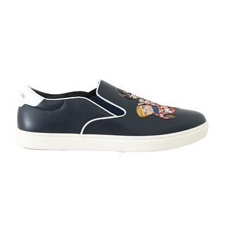 Dolce & Gabbana Blue Leather Family Embroidered Loafers