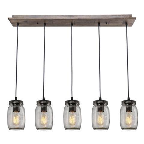 5 light wood island chandelier,glass mason jar ceiling light fixture