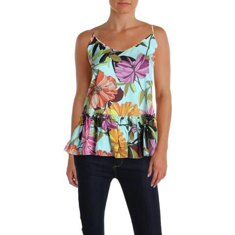 Trina Turk Womens Tank Top Silk Floral Print
