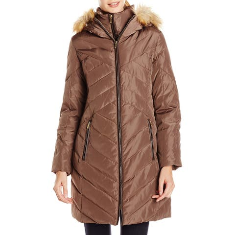 Jones York Womens Coat Brown Size Medium M Faux Fur Trimmed Hood