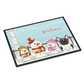 Carolines Treasures BB2343MAT Merry Christmas Carolers French Bulldog Black White Indoor or Outdoor Mat 18 x 0.25 x 27 in.