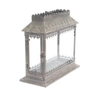 """17"""" Antique-Style with Fleur-De-Lis Gothic Style Trim Candle Lantern"""