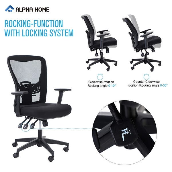 Alpha Home Office Chair Ergonomic Home Desk Chair Mesh With Adjustable Armrest Seat Cushion Rolling Swivel Reclining Chair Overstock 32354075