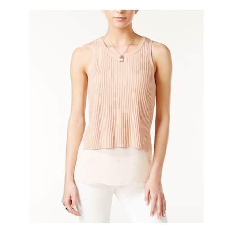 BAR III Womens Pink Sleeveless Jewel Neck Sweater Size XXL