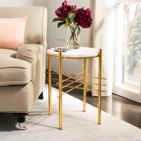 "SAFAVIEH Jenesis Round Accent Table - White / Gold - 15.5"" x 15.5"" x 20"""