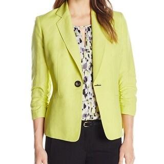 Kasper NEW Green Mojito Women Size 14 Toggle-Front Notch Ruched Blazer
