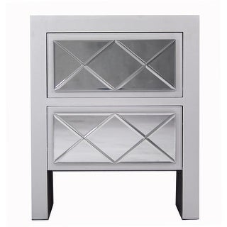 Heather Ann Creations Kayla 2 Drawer Accent Cabinet - Silver