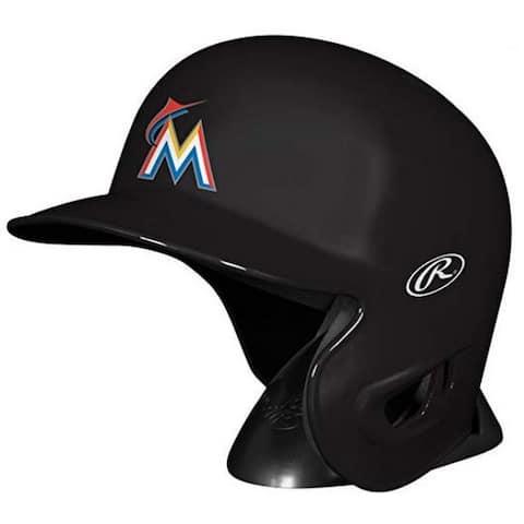 """Rawlings MLB Miami Marlins Mini Helmet Replica Baseball Autograph MLBRL-MIA - Black - 6.75""""L x 4.5""""W X 5.25""""H"""