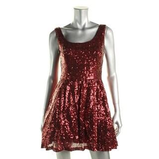 B. Darlin Womens Juniors Sequined Sleeveless Cocktail Dress