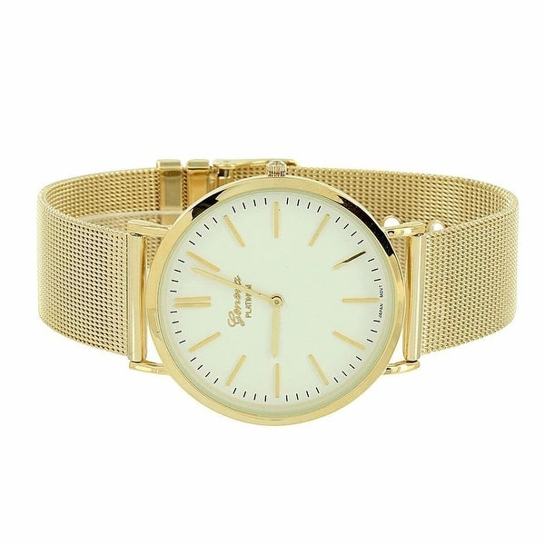 Mens Stylish Watch Gold Mesh Band White Analog Display Quartz Movement Stainless Steel Back