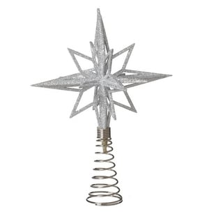 "9.5"" Silver Glittered Starburst Christmas Tree Topper - Unlit"