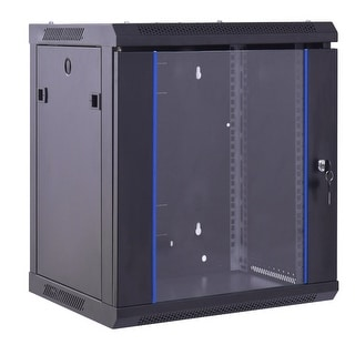 "Costway 12U Wallmount Data Cabinet Enclosure 19"" Server Network Rack Locking Glass Door"