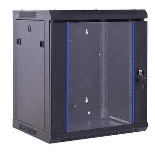 "Costway 12U Wallmount Data Cabinet Enclosure 19"" Server Network Rack Locking Glass Door - Black"