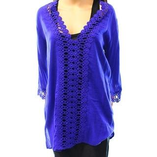 La Blanca NEW Purple Blue Women's Size Large L Crochet Knit Blouse