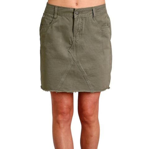 Stetson Western Skirt Womens Above Knee Raw Edge - Green