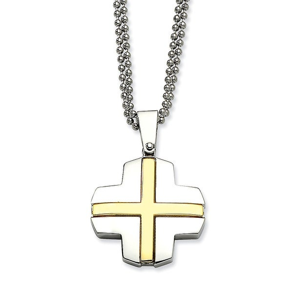 Chisel Stainless Steel Gold-Plated Cross 22 Inch Necklace (2 Mm) - 22 In