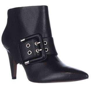 Nine West Pickme Pointed-Toe Buckle Ankle Boots - Black Leather