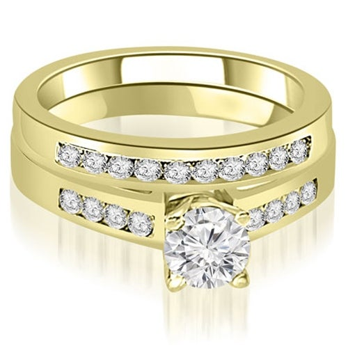 0.95 cttw. 14K Yellow Gold Channel Set Round Cut Diamond Bridal Set