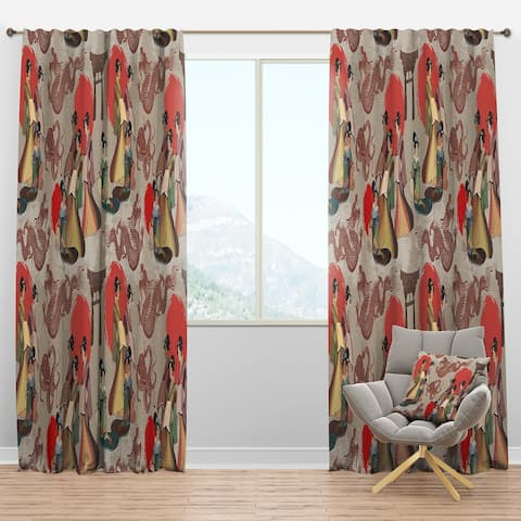 Designart 'Japanese & Chinese Culture Pattern' Oriental Blackout Curtain Panel