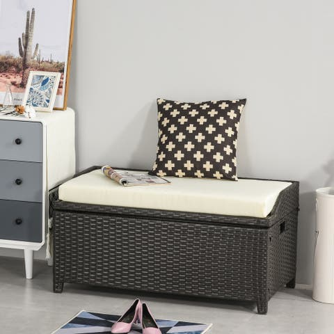 Outsunny PE Rattan Patio Storage Bench with Interior Water-Fighting Cloth Bag & Comfortable White Top Cushion, Brown