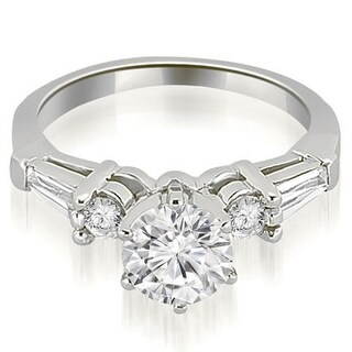 1.35 CT.TW Baguette and Round Diamond Engagement Ring in 14KT Gold - White H-I