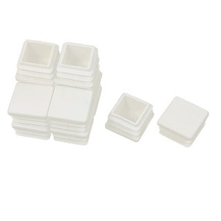 Unique Bargains 12 Pcs Antislip Plastic Square 20mm x 20mm Chair Foot Cover Table Furniture Leg Protector White