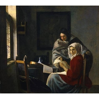 Easy Art Prints Johannes Vermeer's 'Girl interrupted at her music' Premium Canvas Art
