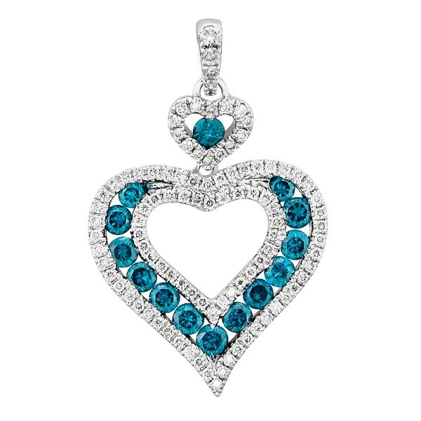 Prism Jewel Blue Color Diamond Heart Shaped Pendant White G H Free Shipping Today 17998913