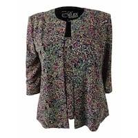 Alex Evenings Women's Petite Glitter Jacquard Jacket & Shell (PS, Beige/Multi) - Beige/Multi - ps