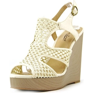 Lucky Brand Remyy Open Toe Canvas Wedge Heel