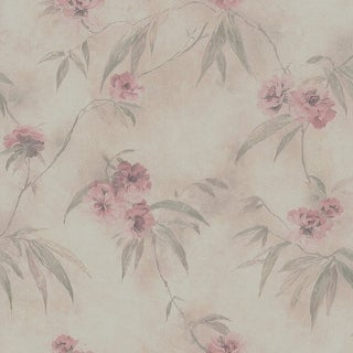Brewster 347-64873 Segal Pink Textured Floral Trail Wallpaper
