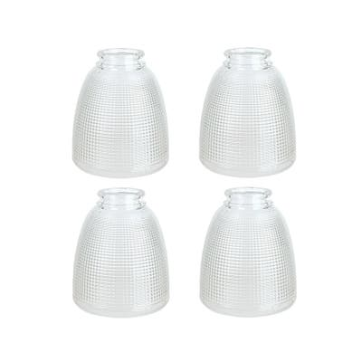 """Aspen Creative Replacement Clear with Grid Pattern Glass Shade, 2-1/8"""" Fitter Size, 5-3/8"""" high x 4-5/8"""" diameter, 4 Pack"""