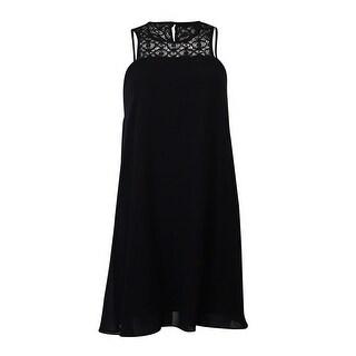 BCBGeneration Women's Halter Chiffon Lace Dress - Black