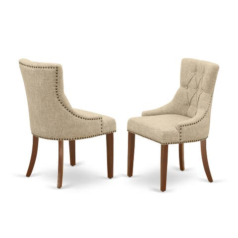 FRP3T05 Friona Parson Chair with Mahogany Leg and Linen Fabric Doeskin
