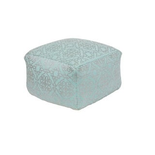 "20""Aqua Blue and Metallic Gray Upholstered Woven Foot Stool Ottoman"