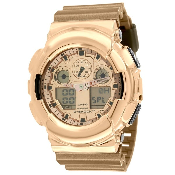 c63686a9f578 Shop Rose Gold Tone G-Shock Ghock GA100GD-9A Watch Metallic Gold Resin Band  Ana-Digi - Free Shipping Today - Overstock - 13785098