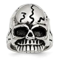 Chisel Stainless Steel Polished and Antiqued Skull Ring