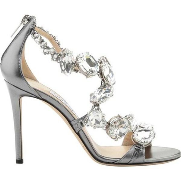 78333b81ae2 Jimmy Choo Women  x27 s Karima 100 Crystal Metallic Leather Sandal Steel  Crystal