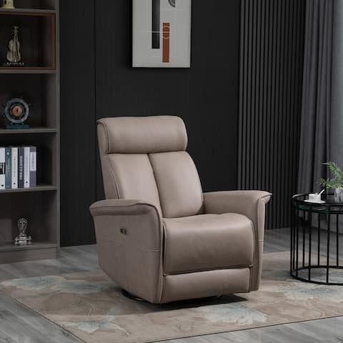 HOMCOM Power Recliner Swivel Rotation USB Charging with Footrest Brown
