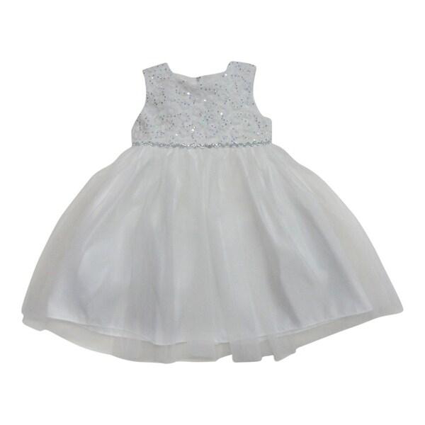 de36a4e19eef Shop Little Girls Off-White Glitter Sequin Rhinestone Elegant Flower Girl  Dress - Free Shipping On Orders Over $45 - Overstock.com - 18163684