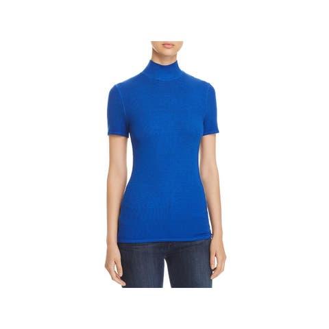 Three Dots Womens T-Shirt Ribbed Mock Neck