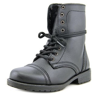 Steve Madden Jtroopa Youth Round Toe Leather Black Combat Boot