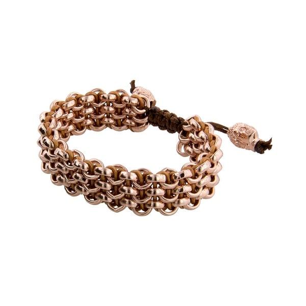 Links Women's Rose Three-Row Bracelet in 14K Rose Gold Plate