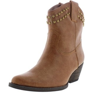 Very Volatile Womens Lunet Cowboy, Western Boots Faux Leather Studded