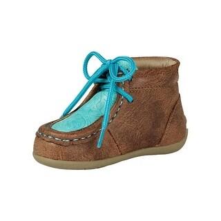 Blazin Roxx Western Shoe Girl Mia Laced Moc Toe Vintage Glaze - tan turquoise