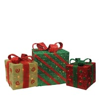 Set of 3 Lighted Sparkling Gold, Green and Red Sisal Gift Boxes Christmas Outdoor Decorations