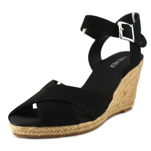 Nine West Move Over Open Toe Canvas Wedge Sandal